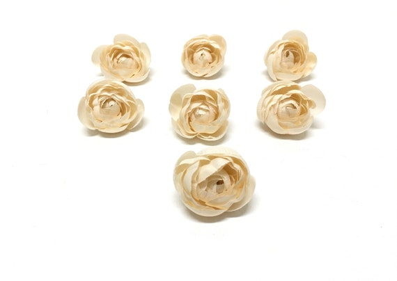 7 IVORY Artificial Ranunculus - Artificial Flowers, Silk Flowers, Circlet, Hair Accessories, Flower Crown, Wedding, Millinery, Hat, Corsage