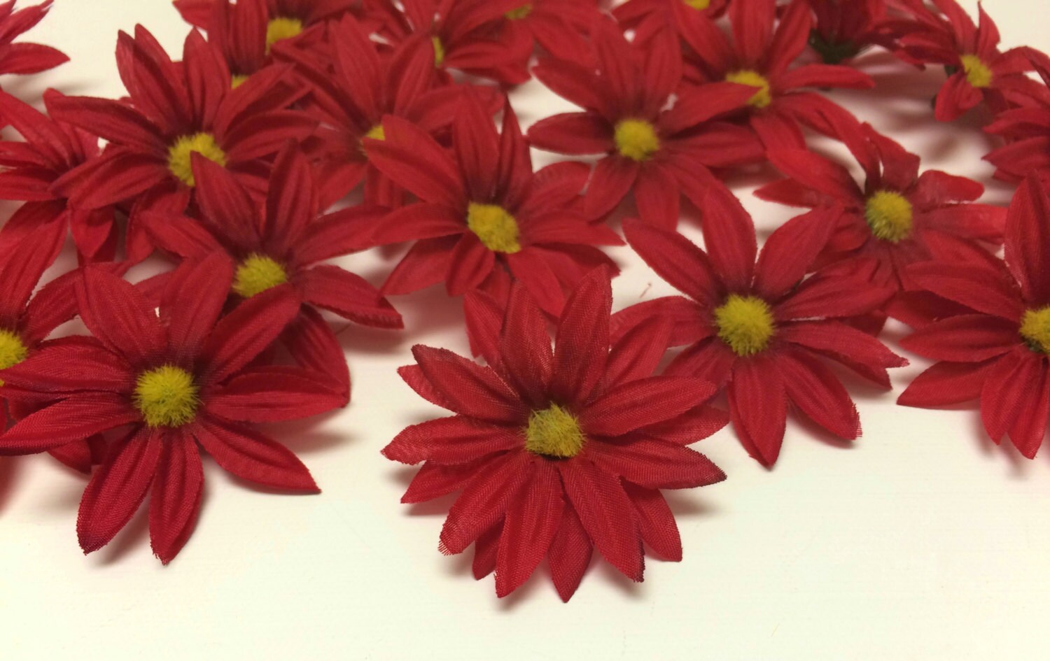 Artificial flowers 30 artificial red daisies flower crown etsy zoom izmirmasajfo