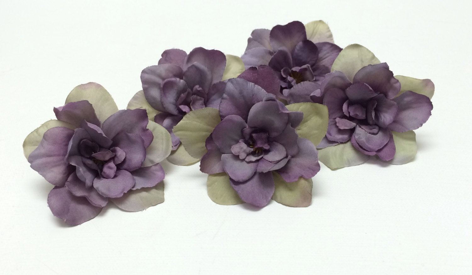 5 Delphinium Blossoms In Purple Accented With Khaki Beige Etsy