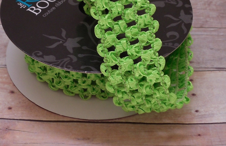ELASTIC Lime Green Waffle Crochet Ribbon for Crafts Headbands  c0b7db1af84