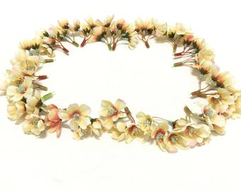 Artificial Flowers - 20 Clusters Apricot Peach Quince Blossoms - Flower Crown, Halo, Wedding Crown