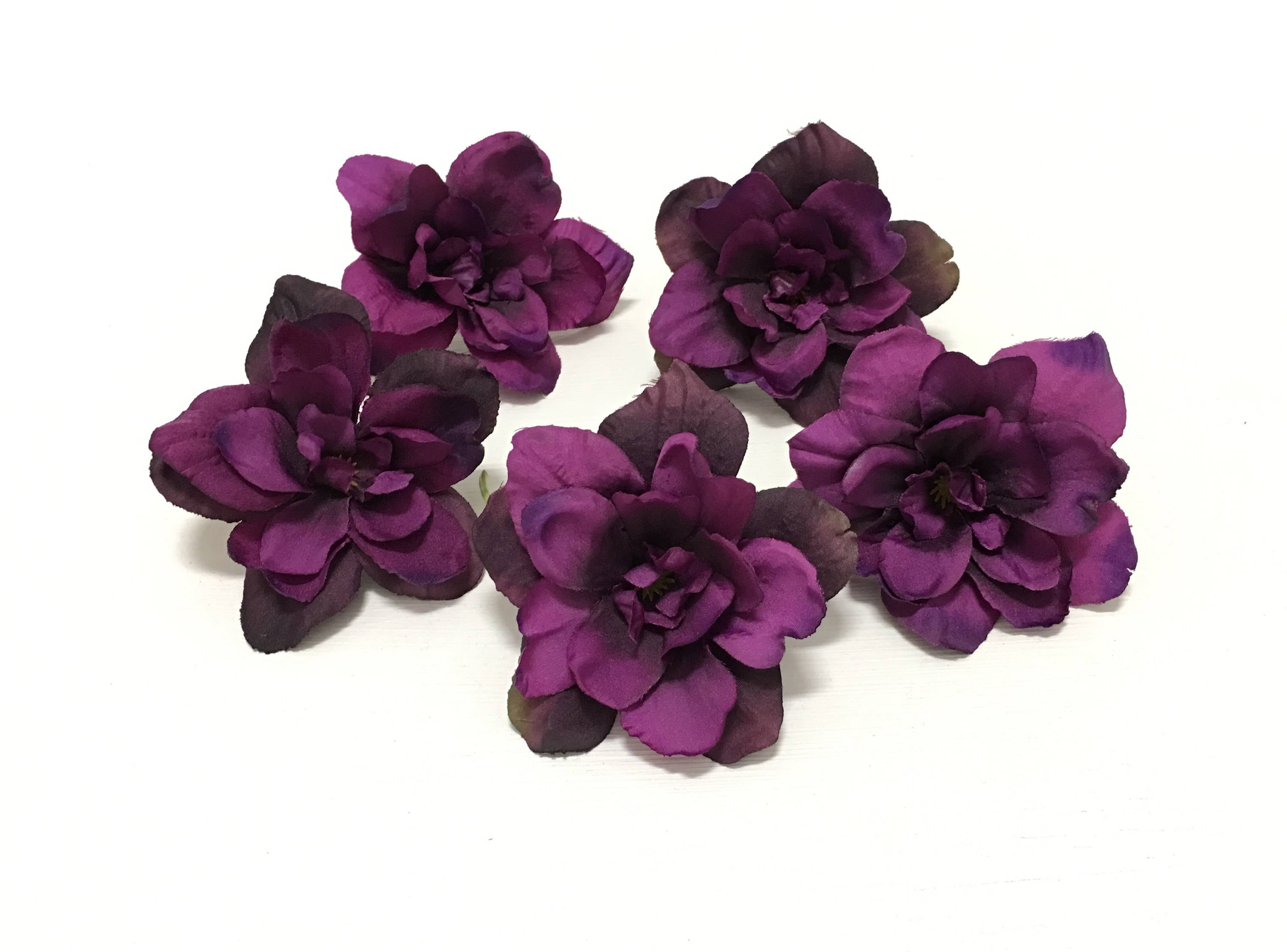 5 Eggplant Purple Delphinium Blossoms 3 Inches Artificial Etsy