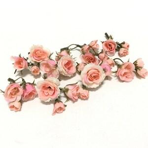 Miniature silk flower etsy 27 tiny peachy pink blush mini artificial roses silk flowers artificial flowers flower crown millinery wedding corsage boutonnire mightylinksfo