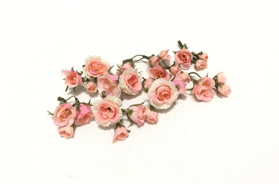 27 tiny peachy pink blush mini artificial roses silk flowers etsy image 0 mightylinksfo