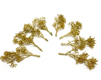 Gold Metallic Sedum Berry Clusters - Flower Crown, Wedding, Artificial Flowers, Christmas, Ornament, Berry Stems, Hair Accessory, Corsage