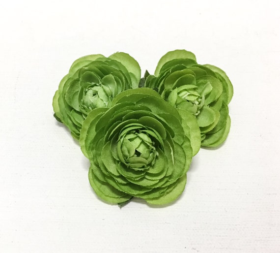 Small green ranunculus flowers 3 pcs hair accessories etsy image 0 mightylinksfo