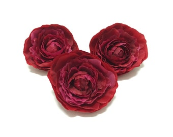 3 FUCHSIA RED Ruffle Ranunculus - Artificial Flowers, Silk Flowers, Corsage, Millinery, Hair Accessories, Flower Crown, Tutu, Wedding, Hat
