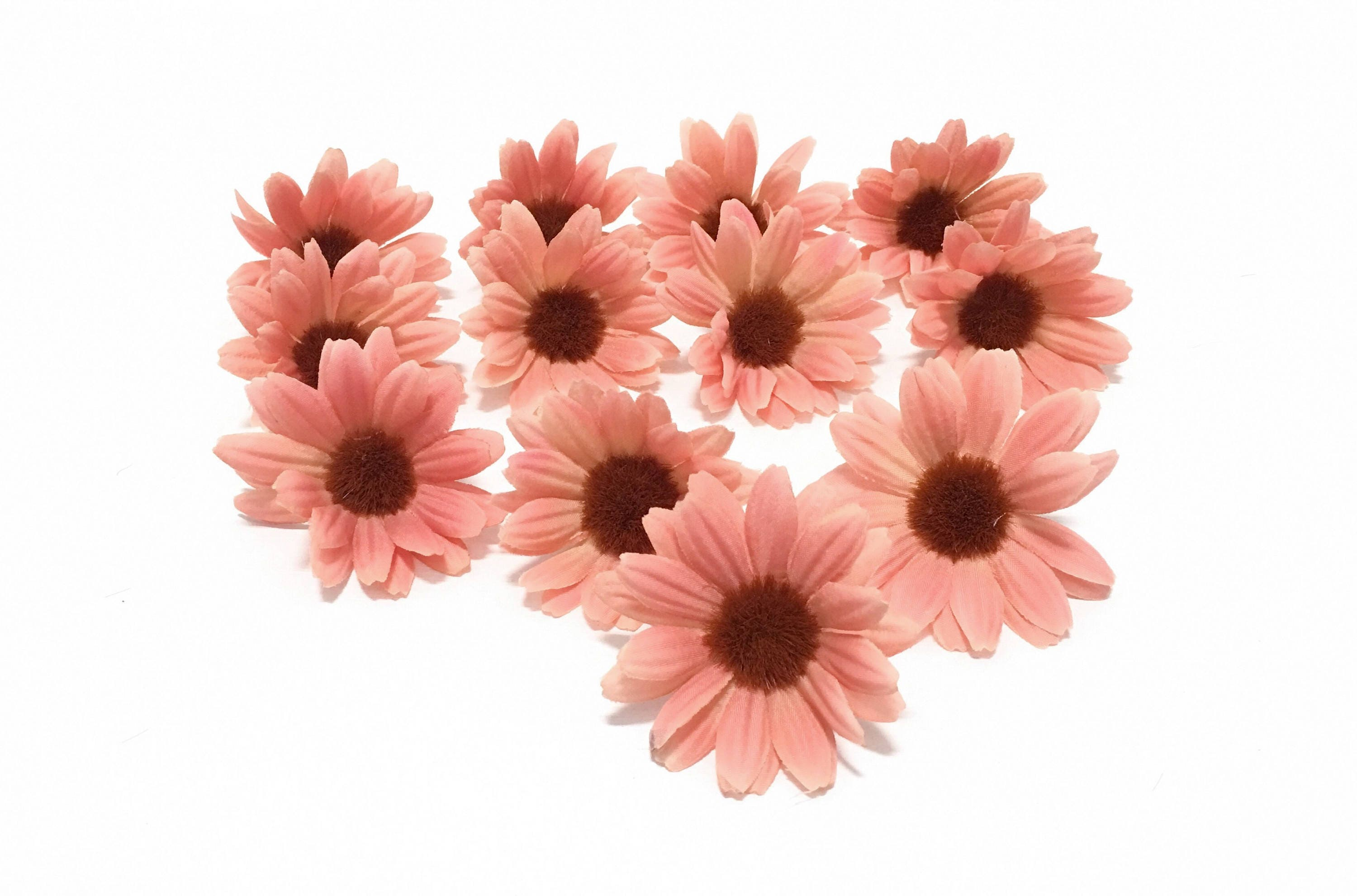 12 Dusty Coral Artificial Daisies Artificial Flowers Silk Flowers