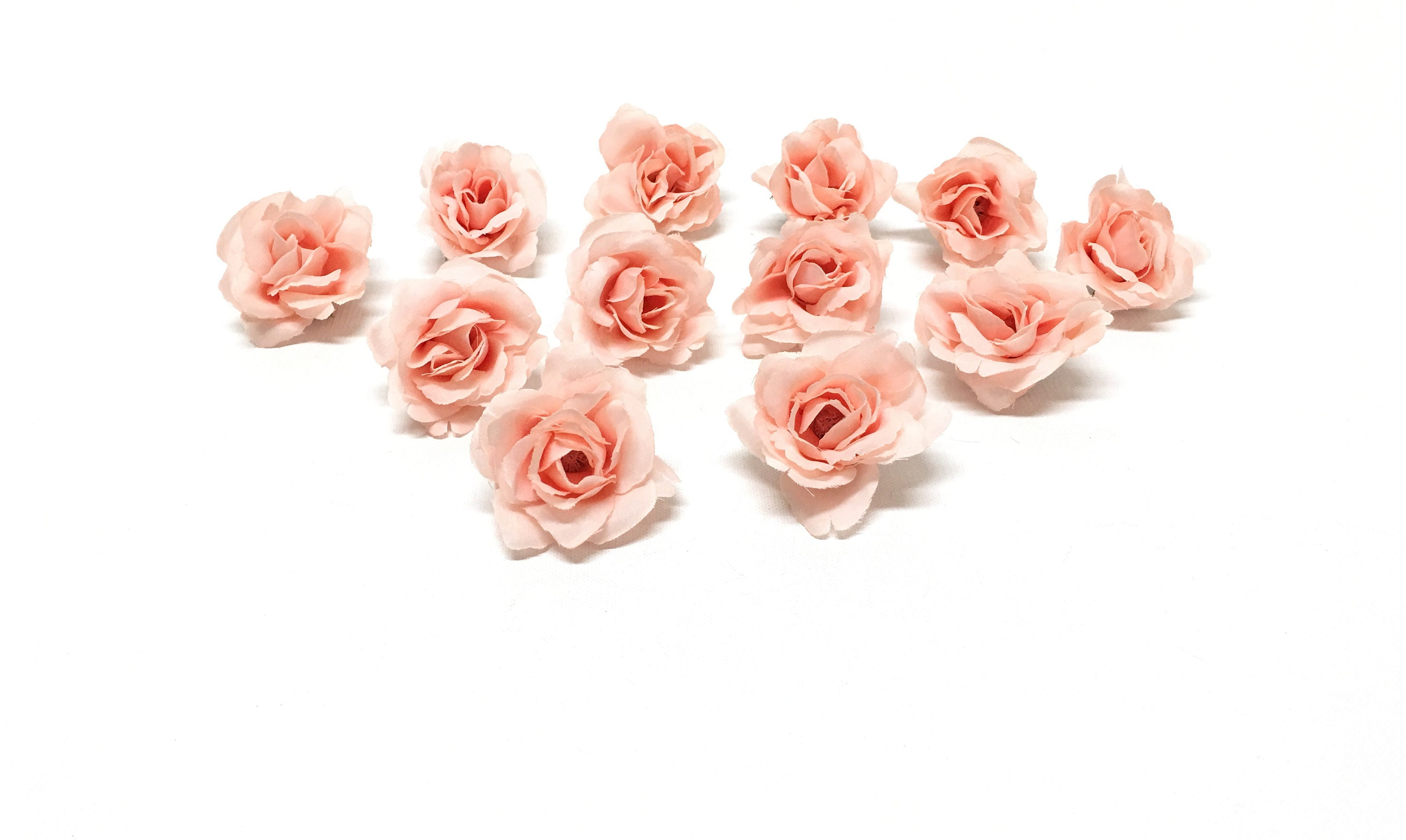 12 Peachy Pink Blush Artificial Roses Artificial Flowers Silk Etsy
