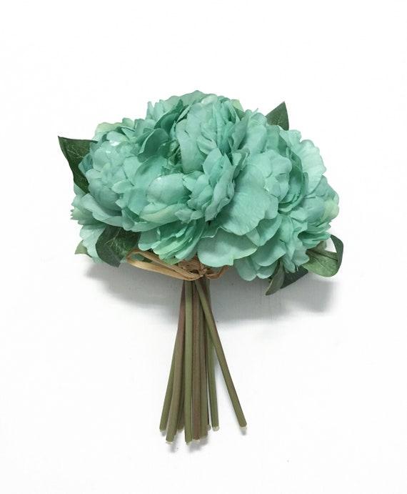 Dusty mint green peony bouquet budget silk flowers wedding etsy image 0 mightylinksfo
