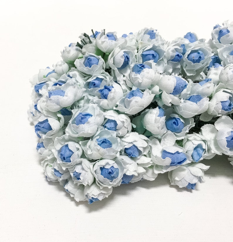 Flower Picks VERY SMALL FLOWERS 144 Small Roses in Blue and White Artificial Flowers
