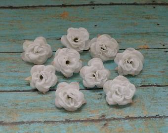 Silk Flowers - NINE White Mini Roses - Small Flowers - Miniature Roses - Artificial Flowers