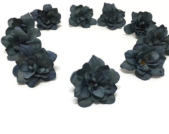 10 Dusty DARK BLUE Artificial Delphinium Blossoms - Artificial Flowers, Silk Flowers, Flower Crown, Hair Accessories, DIY Wedding, Millinery