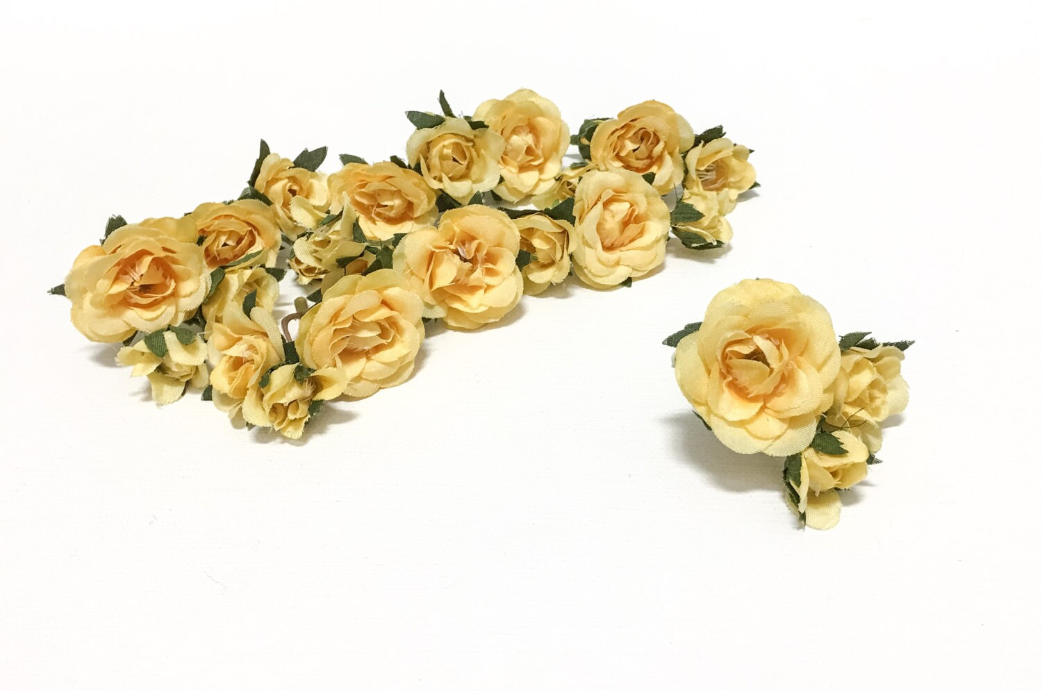 27 Tiny Yellow Mini Roses Artificial Flowers Silk Flowers Etsy
