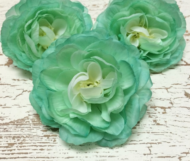 Silk flowers three aqua mint green ranunculus artificial etsy image 0 mightylinksfo