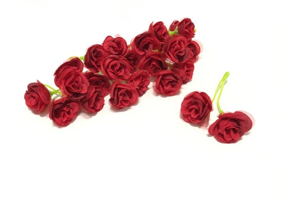 24 Red Artificial Sweetheart Roses Miniature Roses Silk Etsy