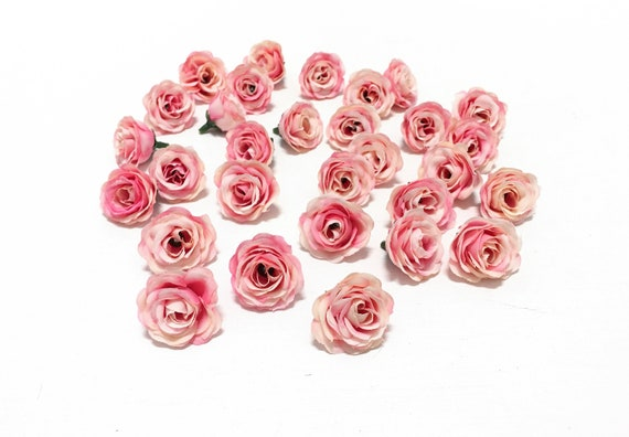 30 Artificial Miniature Pink Mini Roses Artificial Flowers Etsy