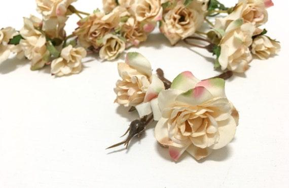 24 ivory blush miniature wild roses artificial flowers etsy image 0 mightylinksfo