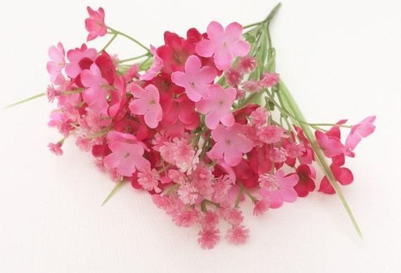Pink plastic artificial babys breath bush gypsophila etsy image 0 mightylinksfo
