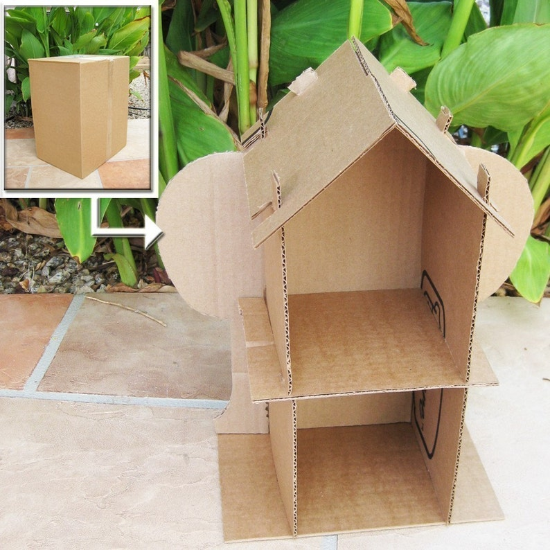 Sale Cardboard Dollhouse Pdf Pattern Recycle Cardboard Boxes Etsy