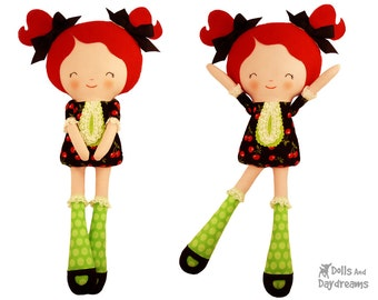 Button Joint Doll PDF Sewing Pattern Easy Rag Doll cloth dolly Tutorial DIY Girl Toy - Miss Tippy Toes