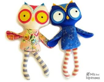 Owl PDF Sewing Pattern Softie Stuffed Toy