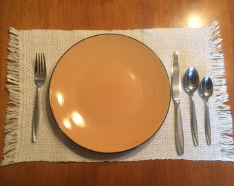 Pair of Handwoven 100% Cotton Placemats, 2x2 box twill design, unbleached, natural color
