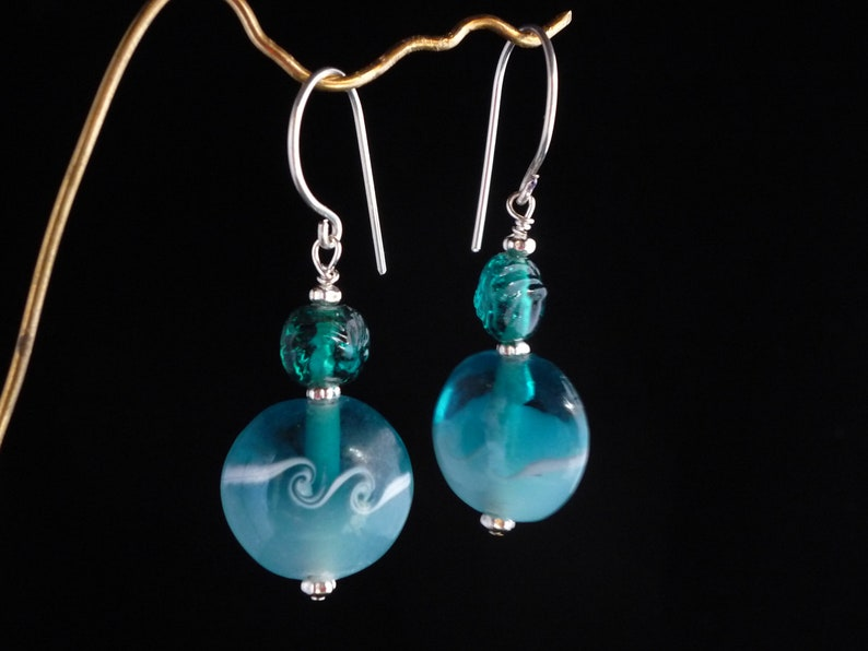 Turquoise  Wave Glass Bead Silver Earwire image 0