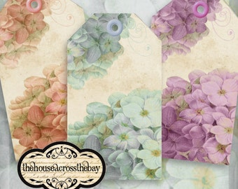 Hydrangea Flower Tags Pink Blue Purple Printable Instant Download Digital Collage