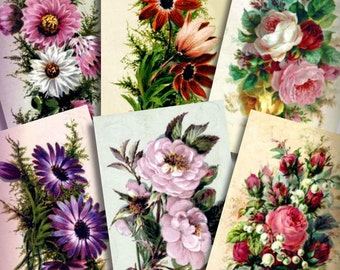 Vintage Victorian Flower Bouquets Decoupage Images Printable Instant Download Digital Collage Sheet