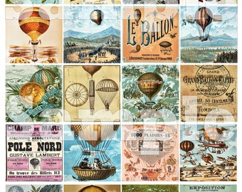 Vintage French Hot Air Balloons 2 Inch Squares Digital Collage Decoupage Coasters Magnets Printable Instant Download