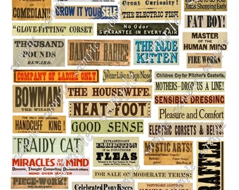 Vintage Phrases Digital Collage Words Advertising Labels Printable Instant Download Cards Decoupage Ephemera Embellishments  Grunge