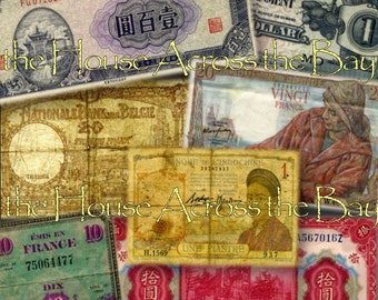 Vintage Foreign Currency Sheet No.1 WWII Money Script Digital Collage Vintage Military Digital Money French Asian Ephemera Decoupage Images