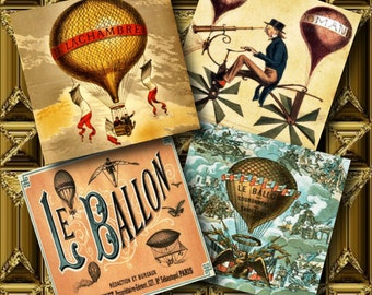French Hot Air Balloon Squares Digital Collage Sheet 1 inch square Pendant Images Buttons Magnets Printable Instant Download Grunge