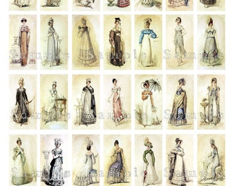 Jane Austen Fashion Show Digital Collage 1 x 2 Inch Domino Pendant Images Vintage Victorian Dress Fashion Printable Instant Download