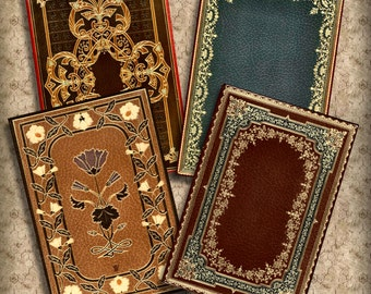 Victorian Book Covers No2 5x7 ATC Printable Instant Download Digital Collage Steampunk Backgrounds ACEO ATC Cards Scrapbooking Ephemera  317