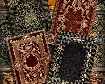 Victorian Book Covers No 3 ATC ACEO Printable Download 2.5 x 3.5 Digital Collage Vintage Books Steampunk Backgrounds Jewelry Cards Tags