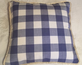 Country French Cottage Pillow Provence Check Blue Cream Plaid American