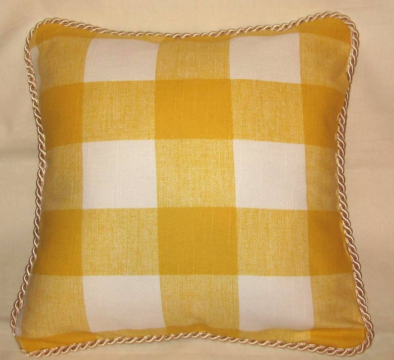 French Country Farmhouse  Cottage Pillow Yellow White Buffalo Check