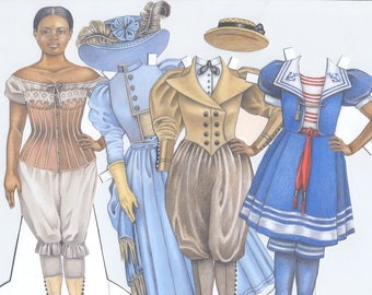 Adelaide, an African-American Victorian lady downloadable paper doll