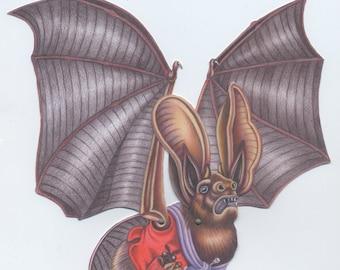 Bartholomew the Long-Eared Bat downloadable Halloween paper puppet