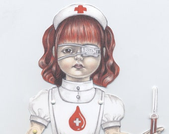 Guro Lolita Nurse articulated  Halloween paper puppet