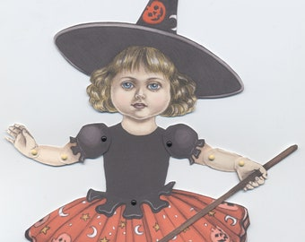 Little Halloween Witch downloadable paper puppet