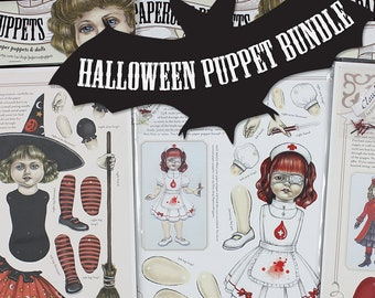Halloween paper puppet bundle - FREE SHIPPING (U.S.& Canada)