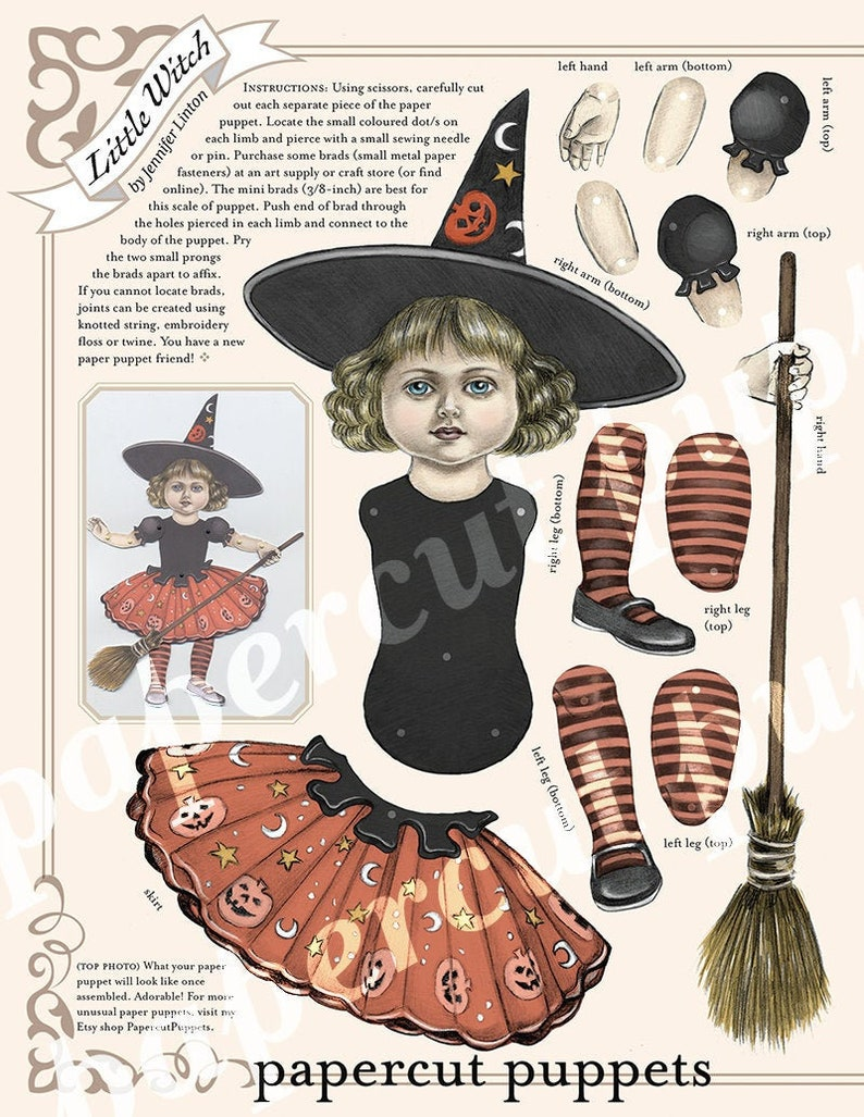 Little Halloween Witch downloadable paper puppet image 0