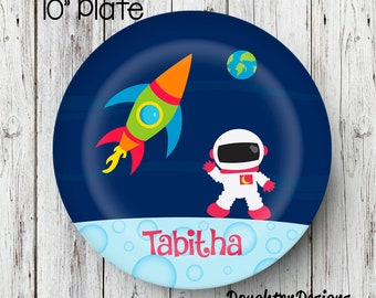 Space Girl Plate, Personalized Plate, Personalized Rocketship plate, Melamine Plate, Kids Dinner Plate, Toddler dinnerware, astronaut plate