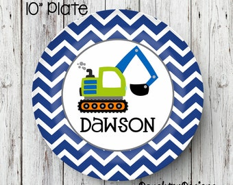 Personalized Melamine Plate, Dump Truck plate, Truck kids plate, personalized kids plate, Personalized Plate, Kids Plate, Melamine Plate