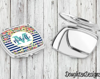 Personalized compact mirror, Bridesmaid gift, Gift for her, Pocket mirror, Personalized makeup mirror, personalized compact, purse mirror