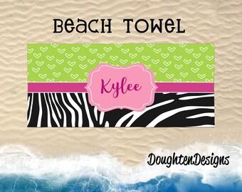 Personalized beach towel, Personalized pool towel, Monogram towel, custom made towel, Lightweight beach towel, zebra print beach towel