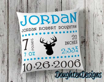 Birth stat pillow, Birth announcement pillow, personalized pillow, nursery pillow